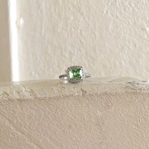 Green Halo Square Cut Statement Ring